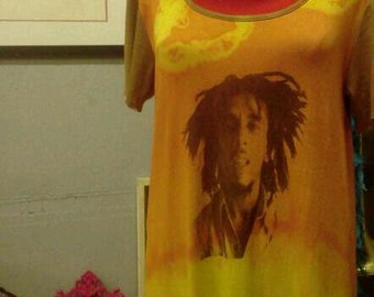 Bob Marley red, yellow, and green tie-dyed summer dress... Lovely.