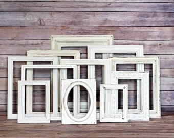 Custom White Wedding Shabby Frame Set Distressed Frames with Glass Backing