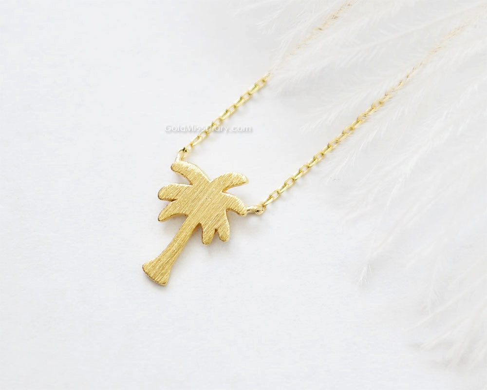 palmtree jewelry tiny palm tree necklace in gold dainty palm tree pendant 7100