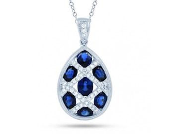 Egg Blue Sapphire Pendant