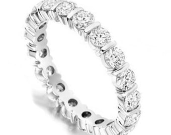 Eternity Ring in White Gold with Real Diamonds 18K 2.00 Carat