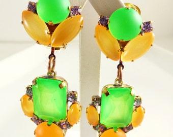 Czech Neon Green and Orange Clip Earrings, Unique vintage, antique costume, estate jewelry