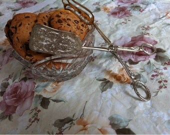 Elegance E.P.Zinc Silver Plated Tongs .Pastry Cookie Sandwich Tongs Vintage