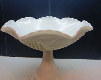 Beautiful Large Milk Glass Pedestal Compote Bowl Grape Pattern
