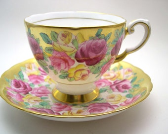 Antique Tuscan Tea Cup And Saucer , Gold Tea Cup with Yellow, Pink and Red Roses, Fine Bone China.