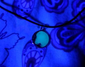 Glowing Charm Necklace, Moon Choker, Free, Glowing Necklace , Glow in the dark necklace , Moon Necklace, Glow in the dark jewelry