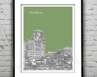 Meridian Mississippi Skyline Poster Art Print MS