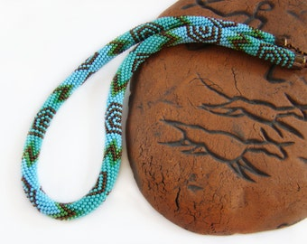 Cave paintings Bead crochet necklace Turquoise necklace Crochet beaded rope Colored necklace Green Turquoise Copper Ethnic tribal necklace