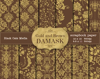 Brown and Gold Damask Wedding papers, Gold and Brown Wedding Scrapbook Background, Brown and Gold Wedding Paper, Instant Download