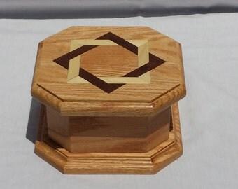 Unique Octagon Inlay Jewelry / Trinket Box