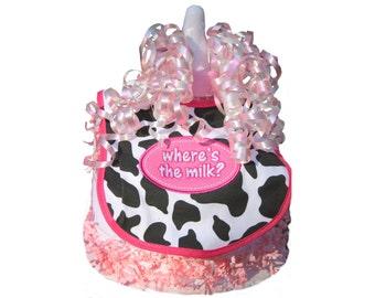 Where's the Milk Bottle Bank Pink Diaper Cake - Barnyard  Baby Shower Gift