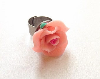 Pink rose ring, flower ring