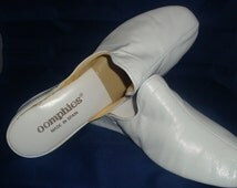 Vintage OOmphies Granada Classic Snow White Leather Slippers/ Shoes (1980s) Size 8