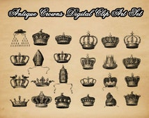 Antique Crowns Digital Collage Sheet - instant download printable clip art vintage crowns images in JPG and PNG format no.127