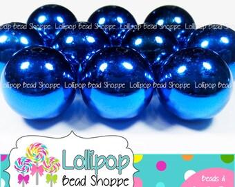 20mm ROYAL Blue Metallic Beads Shiny Solid Gumball Beads Dark Blue Chunky Necklace Beads Plain Acrylic Gum Ball Beads Bubblegum Beads