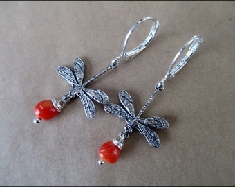 victorian style Earrings with dragonfly and corail