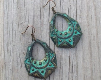 turquoise patina brass dangle earring - imperial