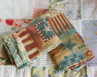 Vintage Pillow Shams, Red, White and Blue, Standard, Pillowcases, Set of Two