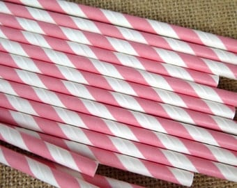Pink and White Striped Paper Straws - 25 Count - Birthdays, Weddings, Bridal Shower, Baby Shower
