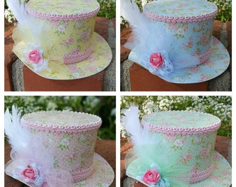 Alice in Wonderland Top Hat, Shabby Chic Hat.  Party favor or Wearable Hat