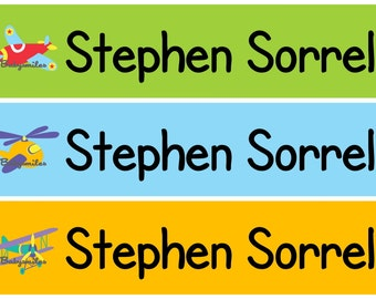 Personalized Waterproof Labels Waterproof Stickers Name Label Dishwasher Safe Daycare Label School Label - Airplanes