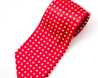 Red and White Polka Dot Necktie