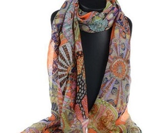Abstract Orange Silk scarf