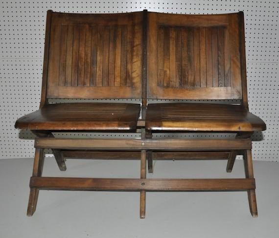 Antique Double Folding Chair Oak Slat Seat & by BackPorchVentures