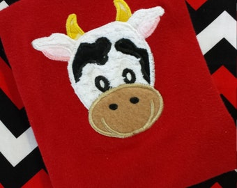 Cow Farm Animal Shirt - Infant - Toddler - Long or Short Sleeve Front and Back Applique Personalized Farm Birthday Party Tee