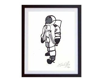 Astronaut Wall Art, Mixed Media Astronaut, Outer Space Art SMall Grey Hand Painted edition of 50 on Arches paper by Jason Oliva