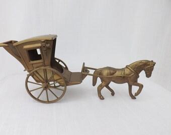 SALE Vintage Brass Horse & Cart Carriage Coach Interior Design Pub Hotel Collectible