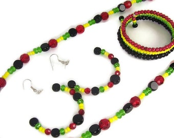 10 Off on Rasta Jewelry Set of Earrings, Bracelet and Necklace