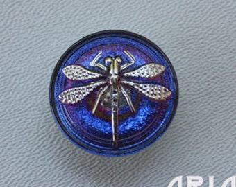 CZECH GLASS BUTTON: 22mm Handpainted Dragonfly Czech Glass Button, Pendant, Cabochon (1)