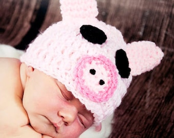 Crochet pink Pig PIGGY Hat Many Sizes preemie, newborn, 0-3 month,3-6 month, 6-12 month,, 1-3 yr also available in blue