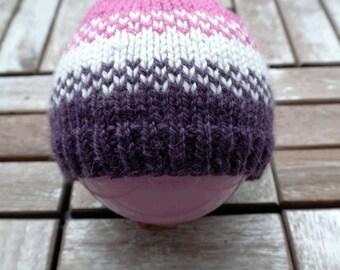 Cute pink/white/purple babyhat