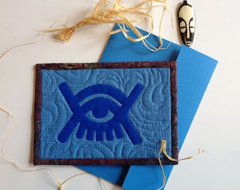 Koja Baiden-Adinkra symbol for Cosmos Omnipresence-5x7 quilted postcard with envelope and blank back for writing message. Perfect gift.