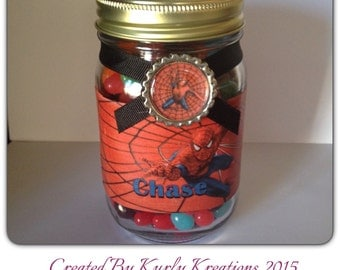 Spideman mason gift jar