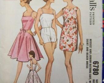 Vintage 1963 McCall's 6780 BATHING SUIT Wrap Skirt & Beach Dress Pattern sz 12 Bust 32 COMPLETE