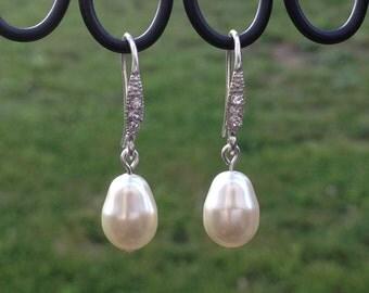 Traci - Pearl Earrings, Wedding Earrings, Bridal Jewelry, Swarovski Pearl and Rhinestone Earrings, Pearl Bridal Accessories