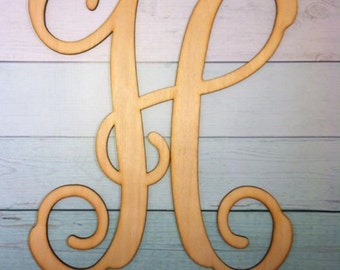 "SALE!!! 28"" Interlocking Vine Font Letter - You choose letter - 1/8"" Birch Wood / DIY / Unpainted  get a 24 inch or a 28 inch"