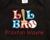 Little Bro Appliquéd Onsie Baseball new baby boy