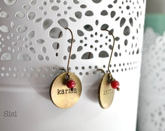 "Earrings word "" Karma "" bronze"