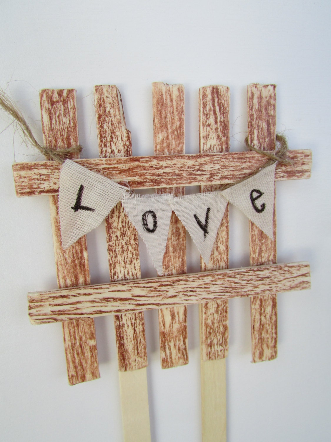 Rustic Fence & Love Bunting Wedding Cake Topper by