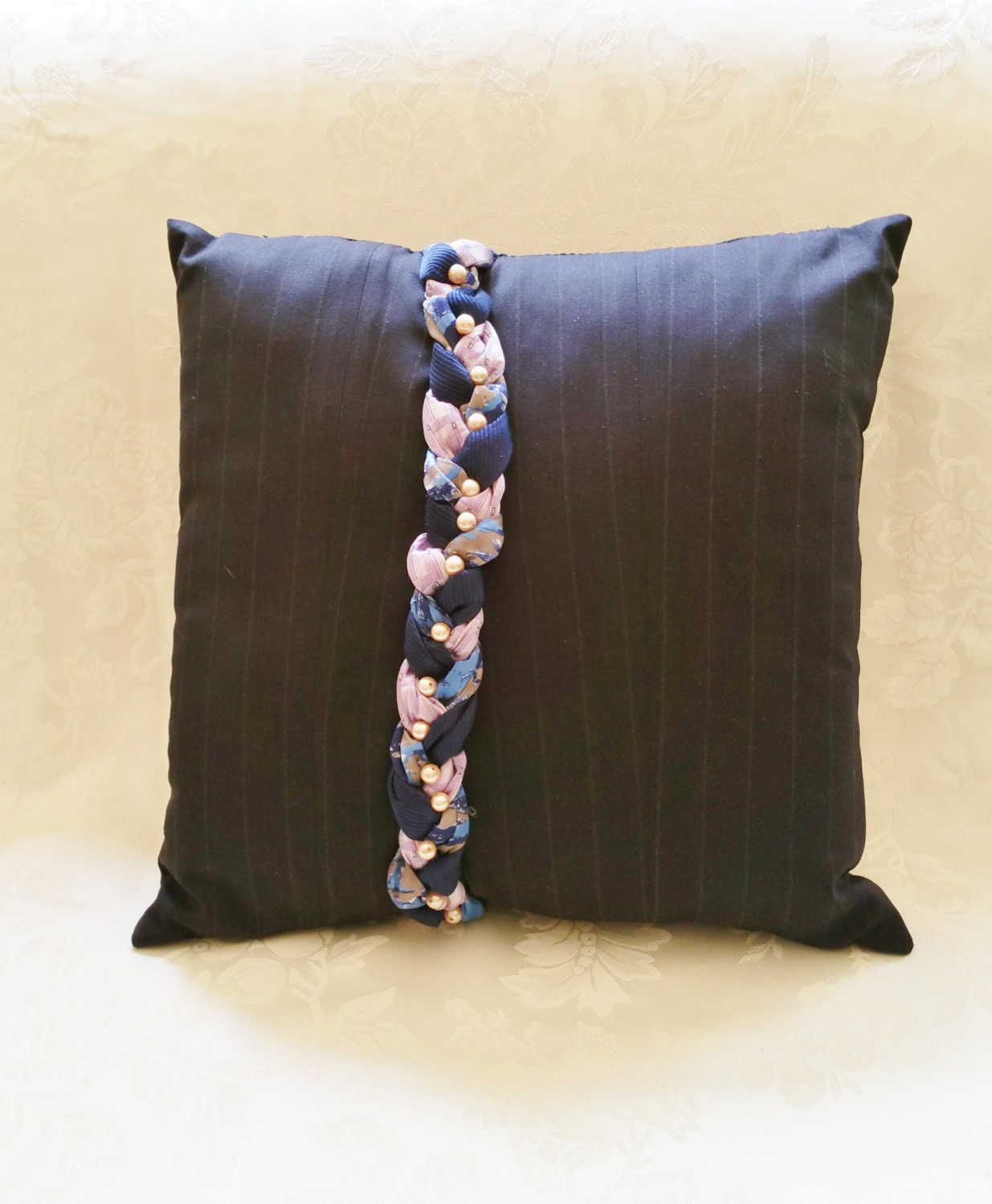 Decorative Pillows In Navy Blue : Decorative Pillow Navy Blue Pinstripe Throw by RebeccaAndRobin