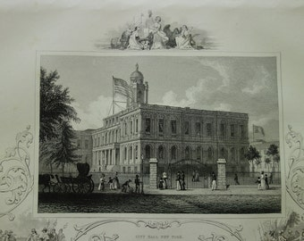 View of City Hall New York - 1851 antique engraving - picture panorama - old look USA NY statet history print - 18x27c 7x11""