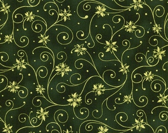RJR Holiday Accents Green w/ Gold Swirl Poinsettia Dot Christmas Fabric BTY 0782