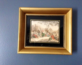 """Small Vintage Art Bartolozzi Painted Engraving- """"August-Harvest Time""""- small framed print, small artwork, hand painted print, framed art"""