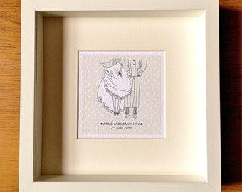 Bride and Groom Personalised Wedding Art/Gift