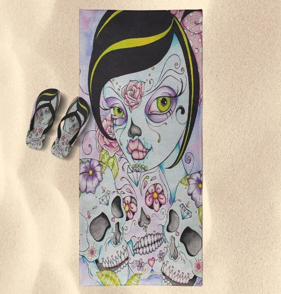 Sugar Skull Style Beach Towel &amp; Flip Flop Set - Designed from the Original Artwork of C								<a href=