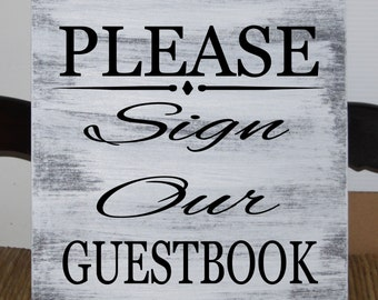 Please sign our guestbook wood wedding sign 12x12